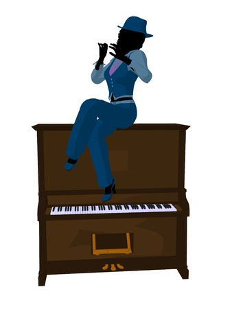 African american jazz musician on a piano on a white background photo