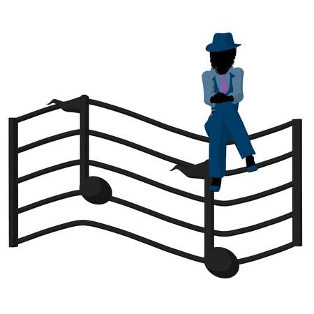 muscian: M�sico de jazz americano africano en una escala de m�sica con notas sobre un fondo blanco