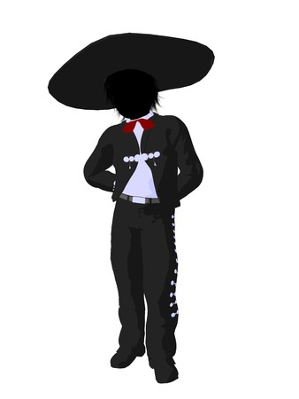Mariachi boy illustration silhouette illustration on a white background illustration