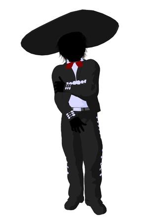 Mariachi boy illustration silhouette illustration on a white background