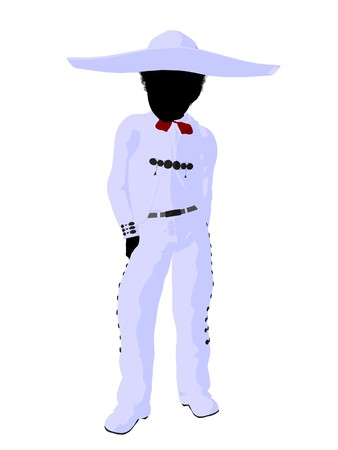 African american  mariachi boy illustration silhouette illustration on a white background Фото со стока