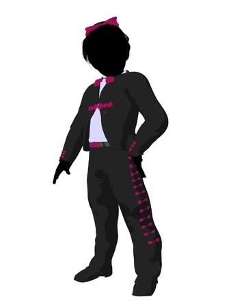 Girl mariachi illustration silhouette illustration on a white background