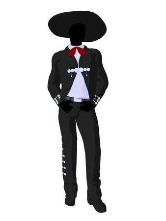 Male mariachi illustration silhouette illustration on a white background illustration