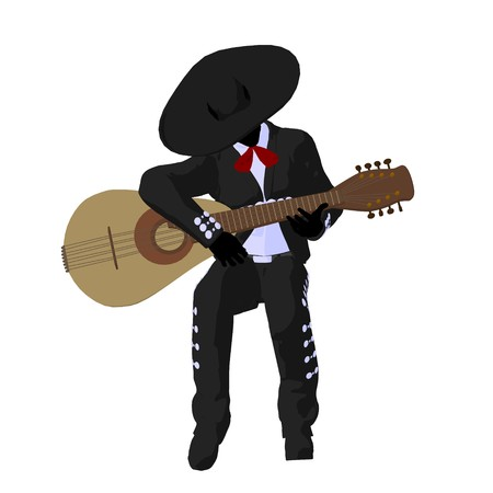 Male mariachi with a guitar illustration silhouette illustration on a white background 写真素材