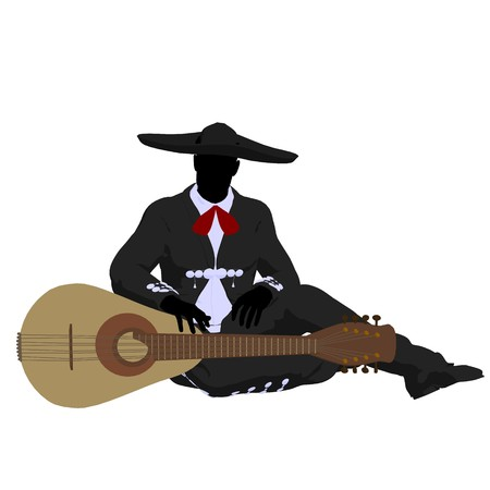 Male mariachi with a guitar illustration silhouette illustration on a white background Banco de Imagens