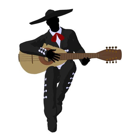 Male mariachi with a guitar illustration silhouette illustration on a white background Banque d'images