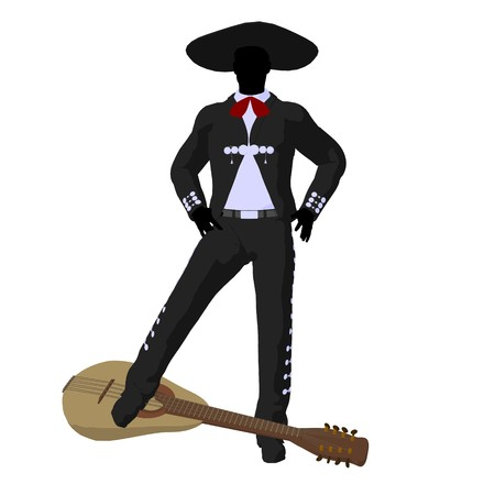 Male mariachi with a guitar illustration silhouette illustration on a white background illustration
