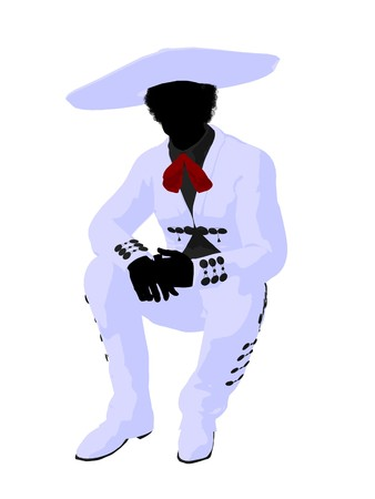 African american mariachi illustration silhouette illustration on a white background