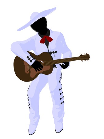 mariachi: African american mariachi with a guitar illustration silhouette illustration on a white background