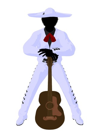 African american mariachi with a guitar illustration silhouette illustration on a white background