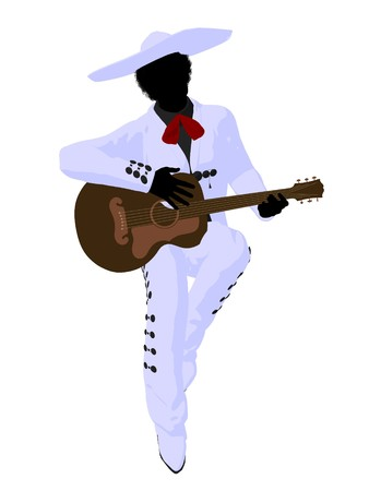 African american mariachi with a guitar illustration silhouette illustration on a white background illustration