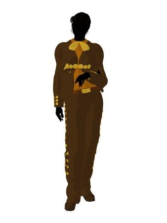Female mariachi illustration silhouette illustration on a white background Banco de Imagens