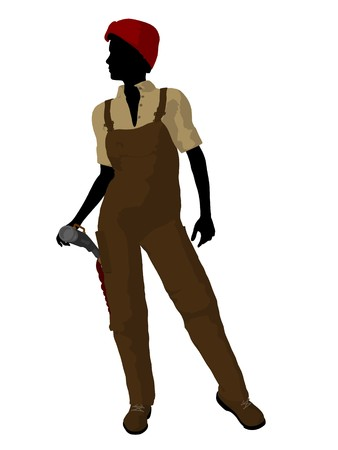 Female mechanic illustration silhouette on a white background illustration