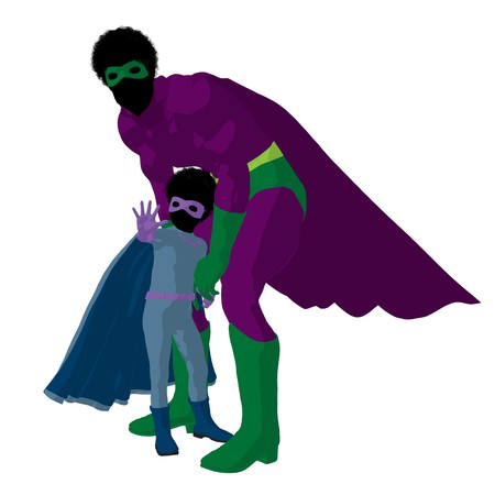 archnemesis: African american  hero dad with child silhouette on a white background