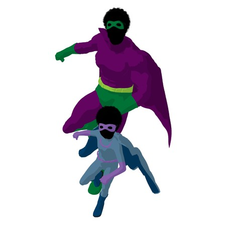 African american hero dad with child silhouette on a white background photo