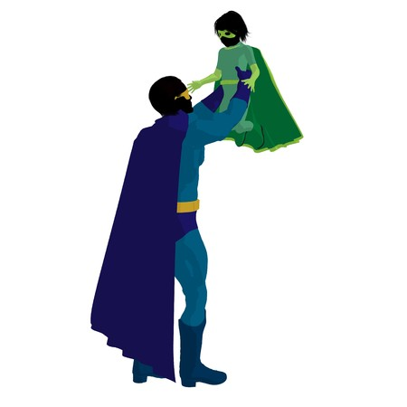 hero dad with child silhouette on a white background photo
