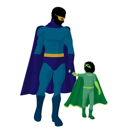 hero dad with child silhouette on a white background 版權商用圖片