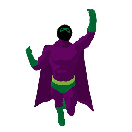 supervillians: African american   hero silhouette on a white background