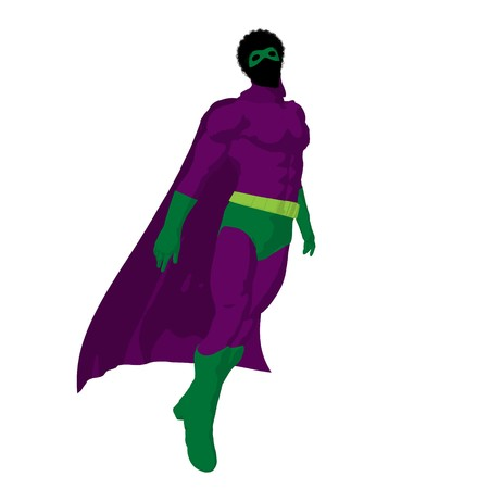 African American  hero silhouette on a white background photo