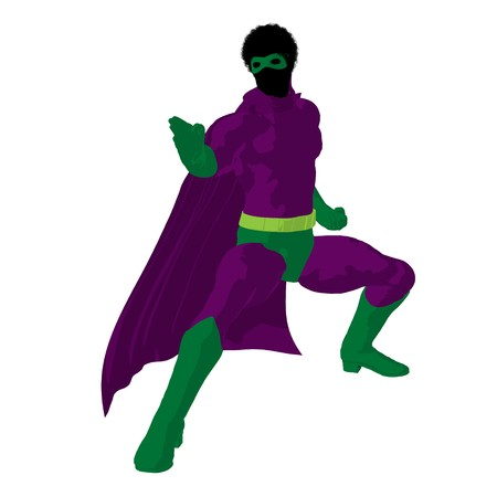 archnemesis: African american   hero silhouette on a white background
