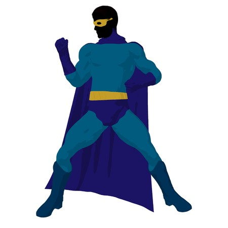 supervillians:  hero silhouette on a white background