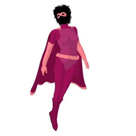 Afrikaans Amerikaans super heldinensilhouet op een witte achtergrond Stockfoto