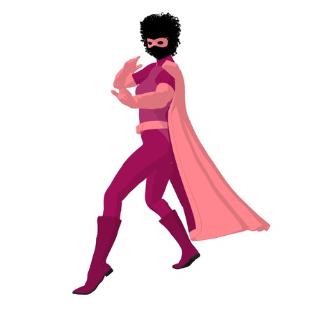american hero: African american super heroine silhouette on a white background Stock Photo