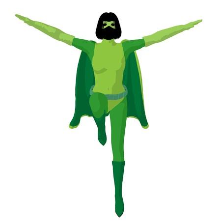 heroine: Super heroine silhouette on a white background Stock Photo