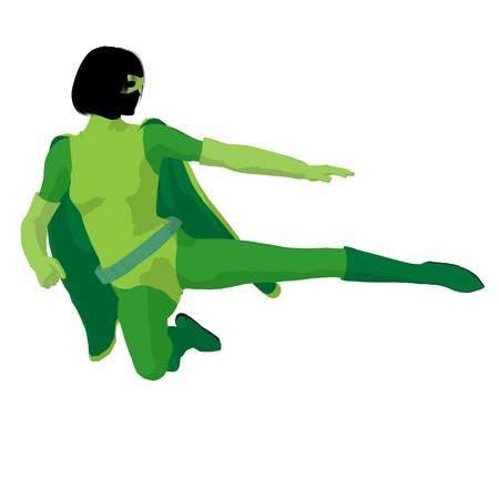 Super heldin silhouet op een witte achtergrond