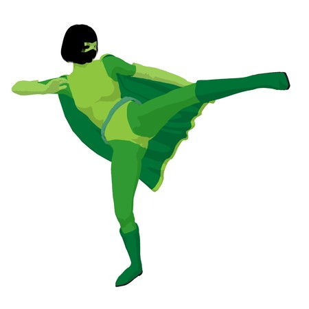 Super heroine silhouette on a white background Stock Photo