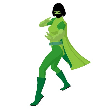 archnemesis: Super heroine silhouette on a white background Stock Photo