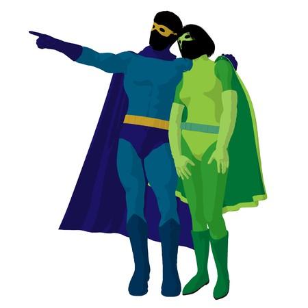 archnemesis:   hero couple silhouette on a white background