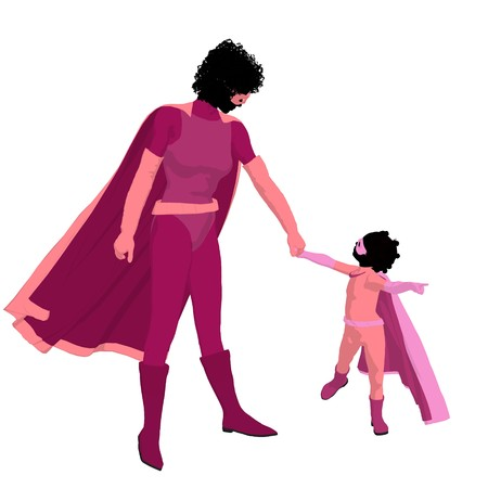 African american  hero mom with child silhouette on a white background Stock Photo