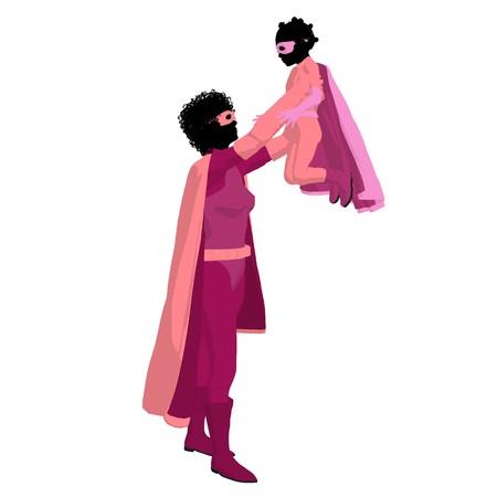Afrikakarte american Hero Mutter mit Kind Silhouette auf weißem Hintergrund  Standard-Bild - 7943310