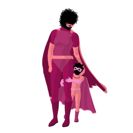 supervillians: African american  hero mom with child silhouette on a white background Stock Photo