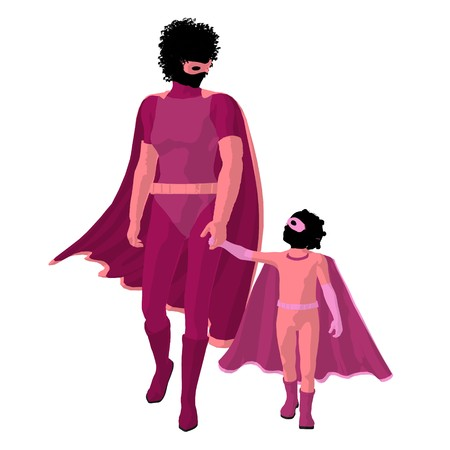 African american   hero mom with child silhouette on a white background Stock Photo - 7943970