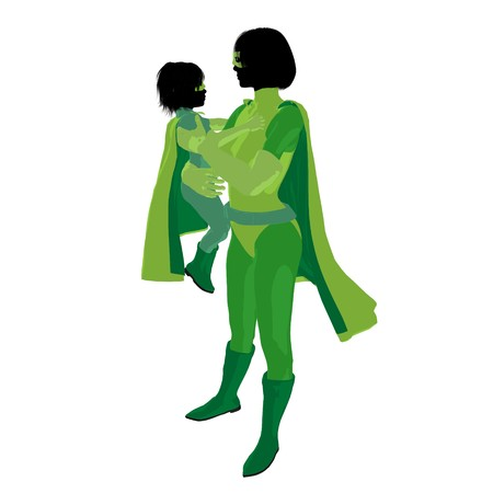 hero mom with child silhouette on a white background photo