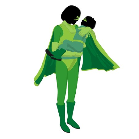 hero mom with child silhouette on a white background Stock Photo - 7943917