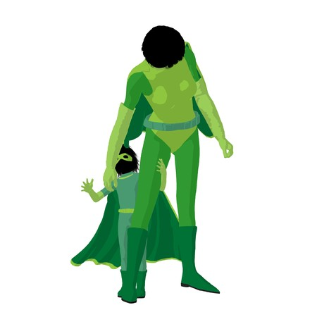 Super hero mom with child silhouette on a white background Stock Photo - 7943217