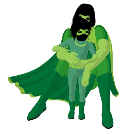 supervillians:  hero mom with child silhouette on a white background