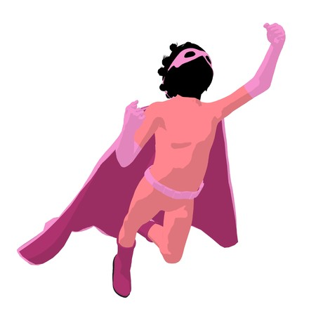 archnemesis: African american  hero girl silhouette on a white background