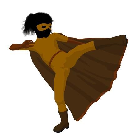 held meisje silhouet op een witte achtergrond