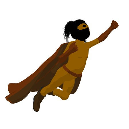 supervillians:   hero girl silhouette on a white background Stock Photo