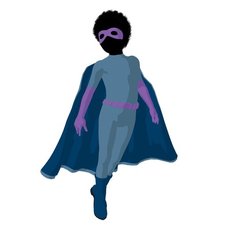 archnemesis: African american  hero boy silhouette on a white background Stock Photo