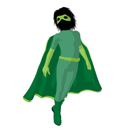 supervillians:  hero boy silhouette on a white background
