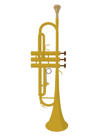Illustration of a trumpet on a white background