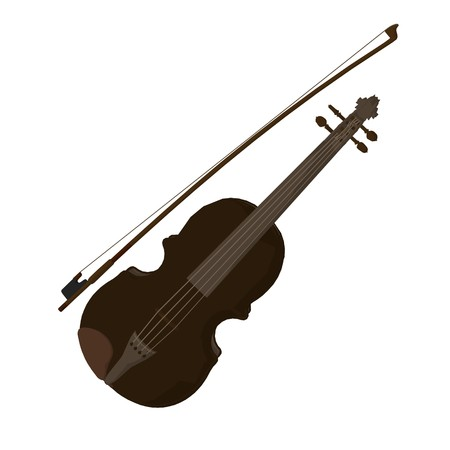 violins: Illustration of a violin on a white background Stock Photo