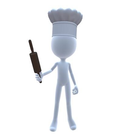 3D chef-kok met een rol lende op een witte achtergrond