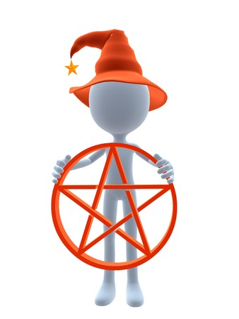 3D halloween guy holding a pentagram on a white background Stock Photo - 8020506