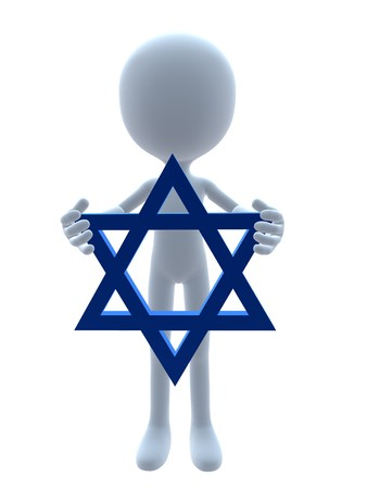 3D hanukkah guy holding a star of david on a white background